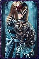 メタルサインヴィンテージ家の装飾ゴス少女とペットの猫 ブリキサインメタルプラーククールメタルプレートコーヒーメタルポスター