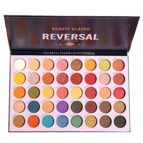 Beauty Glazed Colorful Eyeshadow Palette Shimmer Eye Shadow Palettes Glitter Profusion Eyeshadow Makeup Pallet of Shades High Pigmented Reversal Planet 40 Colors Blendable Eye Shadows Sweatproof and Waterproof