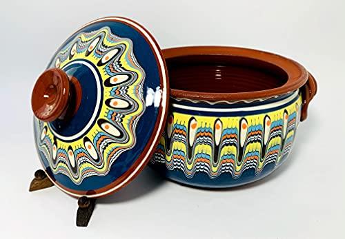 Tontopf, Bräter, Schmortopf mit Deckel, Güvec, Keramik, Handarbeit, bulgarische Tradition, 3 Liter