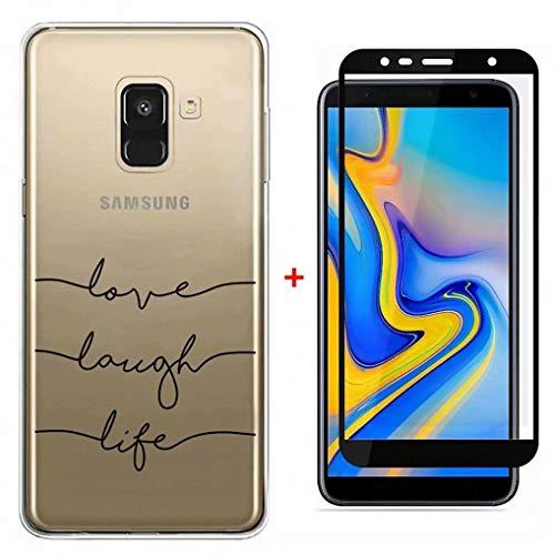 FHXD Kompatibel mit Samsung Galaxy A50 Hülle Transparent TPU Handyhülle [9D Hartglas Glas Display Schutzfolie] Ultra Dünn Flexibel Silikon Schutzhülle MEHRWEG-Brief