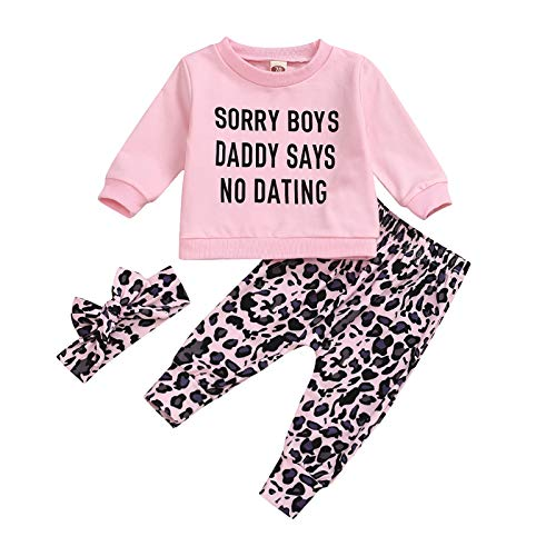 Babykleidung Set Baby Mädchen Outfit T-Shirt Langarm Sweatshirt Tops Neugeborene Kleinkinder Leopard Hose Stirnband Set 3tlg