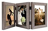 Golden State Art, Decorative Hinged Table Desk Top Picture Photo Frame, 3 Vertical Openings, with Real Glass (5x7 Triple, Grey, 1-Pack)