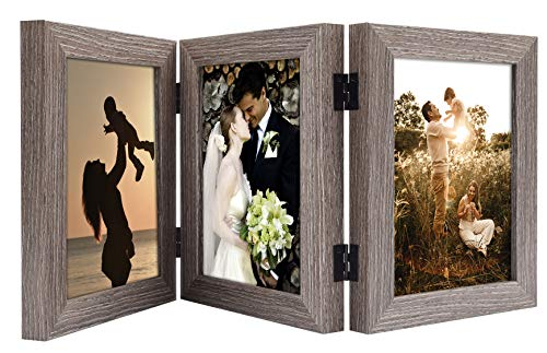 Golden State Art, 5x7 Three Picture Frame Trifold Hinged Photo Frame with 3 Openings, Desk Top Family Picture Collage, with Real Glass (5x7 Triple, Grey, 1-Pack)