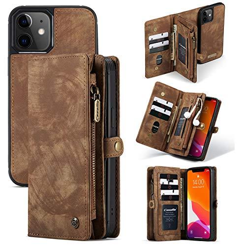UTPRKIN - Funda para iPhone 12 Mini (5,4 pulgadas), funda tipo cartera multifuncional, piel de primera calidad con cremallera con tapa trasera magnética separada para iPhone 12 Mini 5,4 pulgadas
