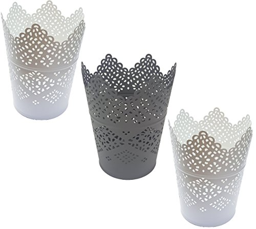 Ikea Skurar Kerzenhalter Teelichthalter (3x11cm, 2X weiß + 1x grau)