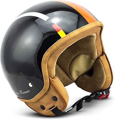 "SOXON® SP-301 ""Italy"" · Jet-Helm · Motorrad-Helm Roller-Helm Scooter-Helm Bobber Mofa-Helm Chopper Retro · ECE Schnellverschluss Tasche S (55-56cm)"