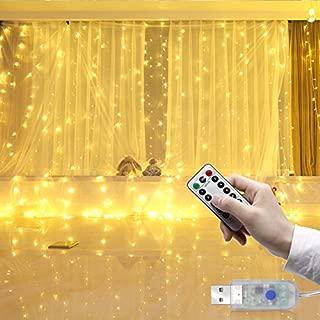 Luces de cortina, 300 ledes, cable de cobre USB, mando a distancia, luces de hada con temporizador, para boda, fiesta, dormitorio, decoración de interiores, 8 modos, 3 m x 3 mm, color blanco cálido