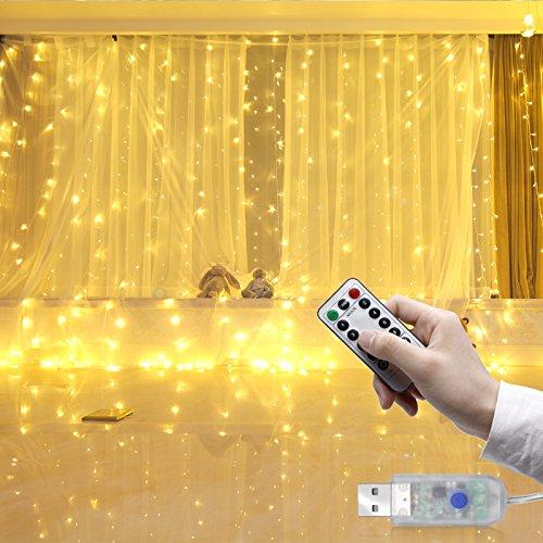Tenda Luminosa, 3m x 3m 300 Luci LED USB Filo di Rame, Telecomando Luci Tenda Luminosa Prolungabile con Timer per Festa Di Nozze Camera Indoor Outdoor Decorative, 8 Modalità , Bianco Caldo