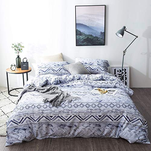 SLUMBERTOWN Blue Geometric Duvet Cover King Size 3 Piece Set - Silky Soft Luxury Western Aztec Pattern Water Color Design Comforter Cover on 300TC Egyptian Cotton - Indigo Blue Gray White Bedding Set