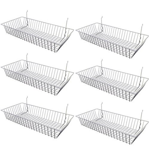 Only Garment Racks #5624W (Pack of 6) White Wire Baskets for Gridwall and Slatwall - Merchandiser Baskets, White Wire Basket 24' L x 12' D x 4' H (Set of 6) (Pack of 6)