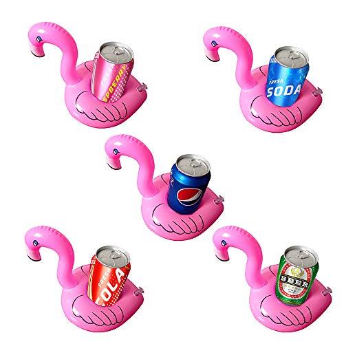 kuaetily Soporte hinchable para bebidas, diseño de flamenco, 5 unidades