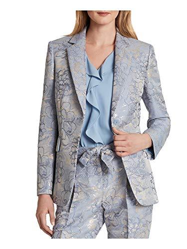 Tahari ASL Women's Two Button Flap Pocket Jaquard Jacket Blazer, Silver Blue Floral, Medium