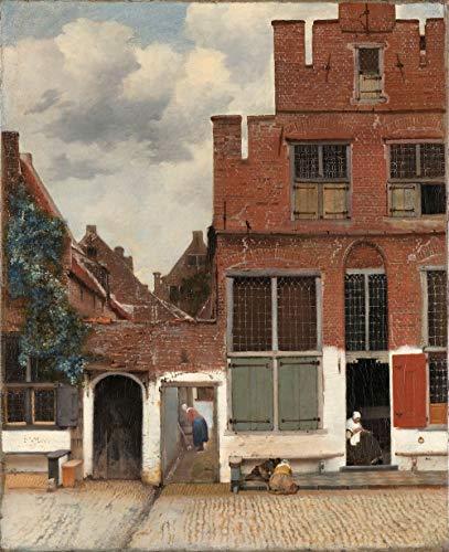 Johannes Vermeer - Het straatje 60x90cm, Rijksmuseum, premium print, print op canvas, oude meester - Muurdecoratie