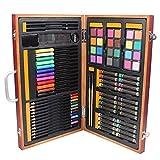 ChenYongPing Set de Pintura y Dibujo Combinación de Dibujo Pluma de la Acuarela Lápiz de Color Cepillo Llevan a los niños Conjunto Pintura para Artistas (Color : Brown, Size : 22.7x37.2x4.2cm)