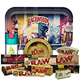 Bandeja para liar Dragonball 27,5cm x 17,5cm + Cenicero RAW + Bote Antiolor THE BOAT + Maquina de liar 79mm + Papel Raw 1 1/4 Organic, Black y Classic + Tips Maestro, Orgánico y Classic.