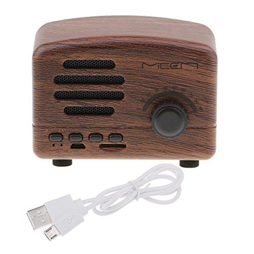 IPOTCH Mini Radio Apoya Tarjeta TF con USB Altavoz Multifuncional Portátil Diseño Vintage Regalo para Amigos - Nuez