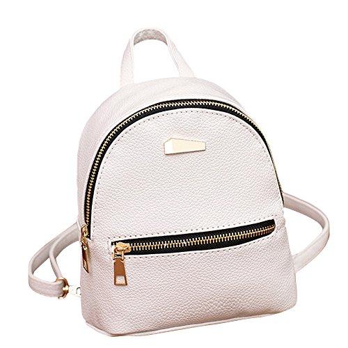 Muium 4 Colori Zaino da Ragazza Casual Borsa da Donna Grandi Schoolbag Borse a Zainetto Zaino per Studente Nero,Bianca,Grigio,Rosa