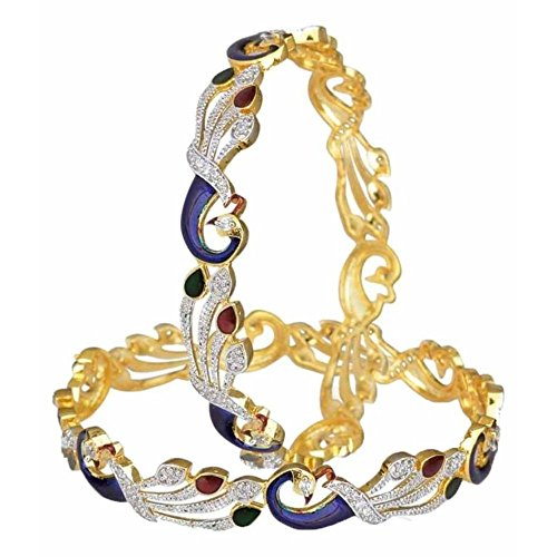 YouBella Ethnic Bollywood Gold Plated Peacock Bracelets Bangles Jewellery for Women and Girls (6)