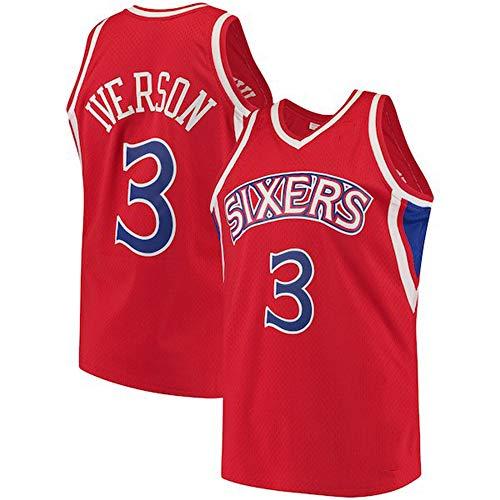 LYY Jersey Men's, Philadelphia 76Ers # 3 Allen Iverson - NBA Classic Baloncesto Sportswear Flojo Comfort Chalecos Tops Sin Mangas Camisetas Uniformes,Rojo,XL(180~185CM)