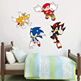 Sonic The Hedgehog Wall Sticker Sonic, Tails, Knuckles and Shadow Wall Decals Vinyl Kids Bedroom Art (240cm Width x 80cm Height)