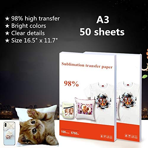 """16.5"""" X 11.7"""" Size A3 - Sublimation Heat Transfer Paper Sublimation Ink Transfer Paper For Epson, HP, Canon, Ricoh, SawGrass Inkjet Printers - 50 Pack"""