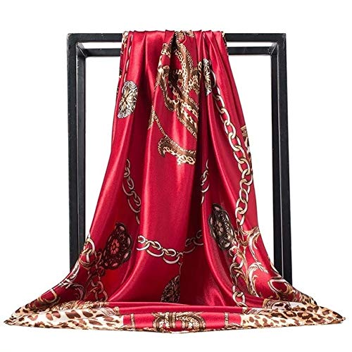 LONGYOUZHI zijden sjaal voor dames, halsdoek, 90 x 90 cm, vierkante kop, Hijab Signore sjaal, van chiffon, geluiddemper, voor dames, levering zonder verzending, 90 x 90 cm 17