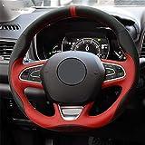 LUOERPI Cubierta del Volante del Coche de Cuero Rojo Negro, para Renault Kadjar Koleos Megane Talisman Scenic 2016 2017