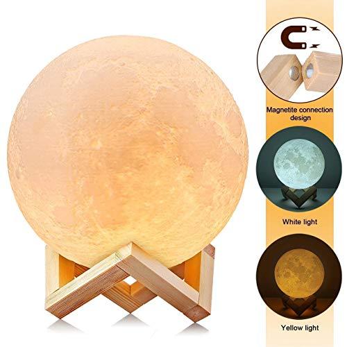 Maanlamp, 18 cm, 3D-print, maanlamp, kinderkamer, LED-nachtlampje, 3d maanlicht, romantisch nachtlampje, grote lamp, maanlamp, maanlamp, nachtlampje en licht voor slaapkamer en eetkamer, 7,0 inch