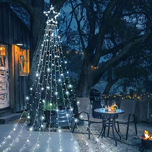 FENWOOH LED Waterfall Christmas Tree Lights with Star String Fairy Curtain Lights for Party Wedding Patio Indoor Outdoor Christmas Decoration Water Flow Lights - Cool White