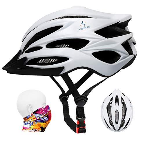 ioutdoor Casco da Bici Premium, Certificato CE CPSC, Casco da Bici con Visiera Solare Rimovibile e Rete per Insetti, Casco da Bici Regolabile Super Leggero per Sport All'aperto (Bianca)