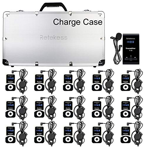 Case of 1 transimitter and 15 Receiver 1 Charging Case,Retekess T130, 99 Channel,Wireless Tour Guide System,Church Translation System,Assistive Listening Devices for Curch,School,Factory