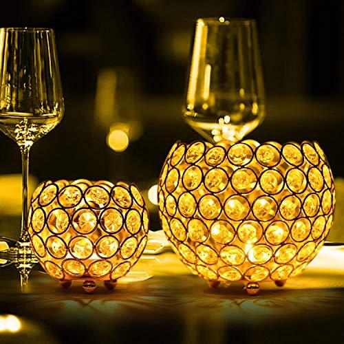 Queta Kerzenständer 2er Set, 15cm und 10cm Kerzenhalter Vintage Kristall Bowl Kerzenleuchter für Aromatherapie, Weihnachts, Hochzeit, Party, Tischdeko