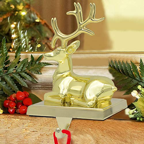 NaTursou Christmas Gold Reindeer Metal Stocking Hanger Fireplace Stocking Hanger, Holiday Christmas Decorations for Fireplace Holder Decor