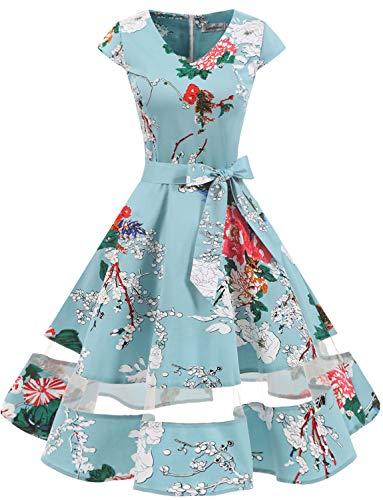 Gardenwed 1950er Vintage Retro Rockabilly Kleider Petticoat Faltenrock Cocktail Festliche Kleider Cap Sleeves Abendkleid Hochzeitkleid Floral XS