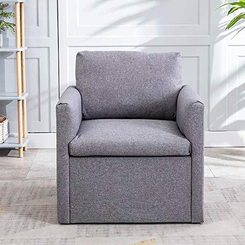 Einzelsofa 1-Sitzer Sofa Sofagarnitur Loungesofa Couch mit Bezug aus Leinenimitat,für Wohnungen Wohnzimmer Gästezimmer,mit Holzgestell(Grau)[DE Stock]
