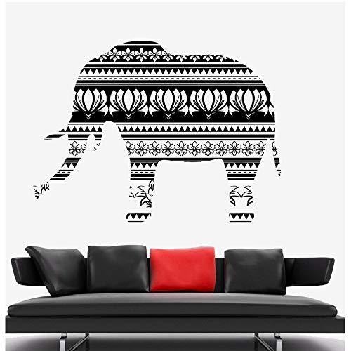 MRQXDP Übergroße wandaufkleber mandala Vinyl Art Design Elefant Wandbild Native Africa Ornament Wandaufkleber Home Schlafzimmer Dekor 128x175 cm Papel De Parede
