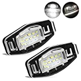 2012 Acura TSX License Plate Light Bulbs - 2pcs Car License Plate Light for Honda Civic Pilot Accord Odyssey Acura MDX RL TSX ILX RDX Error Free 3W 18 Led White License Tag Lights Rear Number Plate Lamp Direct Replacement