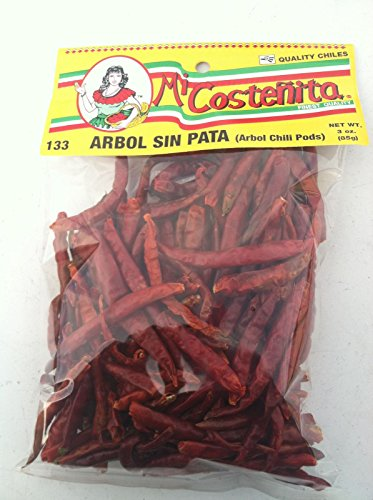 Whole Chile De Arbol, 3 Ounce - Mexican Whole Dried Arbol Chili Peppers