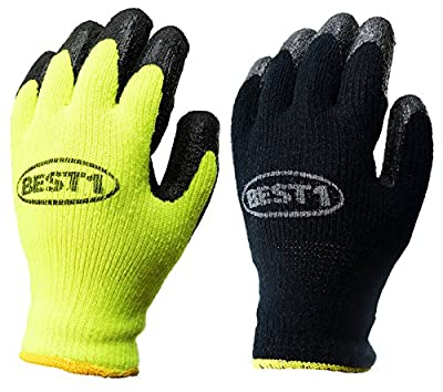 BEST1 Winter Insulated Rubber Latex Coated Work Gloves, Crinkle Pattern, 3 Pairs/ Pack