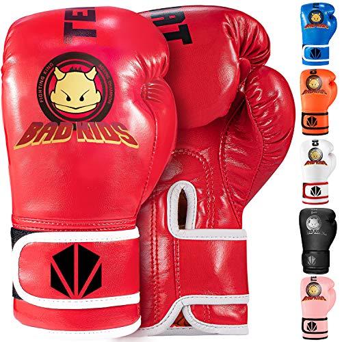 TEKXYZKinder Boxhandschuhe Bad Kids Serie Rot 4 OZ -Kunstleder Kinder Boxtrainingshandschuhe mit lebendiger Farbe für Jungen und Mädchen im Alter von 3 bis 12 Jahren