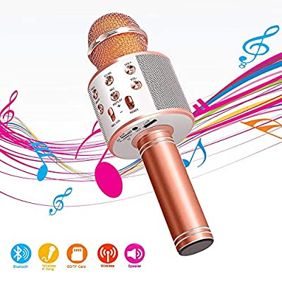 Wireless Bluetooth Karaoke Microphone,4 in 1 Portable Handheld Mic Speaker for Company Meeting Kids Home KTV Party,Compatible with Android & iOS?Perfect Birthday & Christmas Gift(Rose Gold)