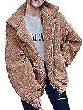 Gzbinz Women's Casual Warm Faux Shearling Coat Jacket Autumn Winter Long Sleeve Lapel Fluffy Fur Outwear Camel M
