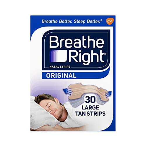 Breathe Right Original Tan Nasal Strips, Nasal Congestion Relief due to Colds & Allergies, Reduces Nasal Snoring caused by Nasal Congestion, Drug-Free, 30 count, Large