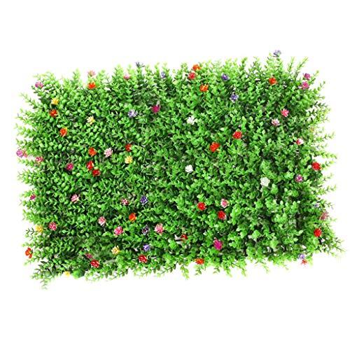 F Fityle 40x60cm Künstliche Pflanzenwand Kunstpflanze Wand Kunstrasen Wanddeko Wandkunst - Rasen mit Blume