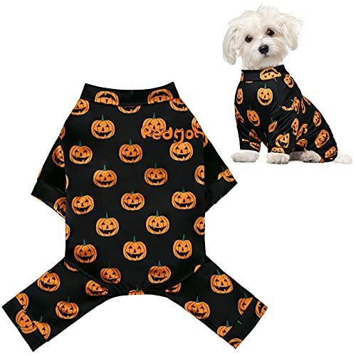 URATOT Pedgot Halloween Pet Pajamas for Dogs Pumpkin Dog Jumpsuit Pet Costumes Apparel Black Doggie...