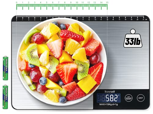 TICWELL Essential Food Scale 33lb Digital Kitchen Scale Weight Grams Oz for Cooking Baking...