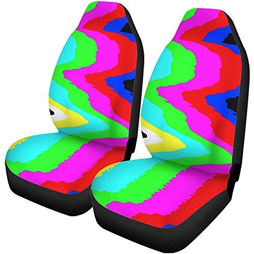 Auto Stoelhoezen Kleurrijke Geen Signaal Tv Test Patroon Digitale Glitch Vervorming Set van 1 Beschermers Auto Fit voor Auto