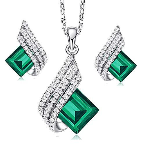 Schmuckset Damen Halskette Frauen S925 Sterling Silber Kette Anhänger Damen Schmuck Mit Diamanten Halskette Und Ohrringe Set Geschenk Für Frauen,Blau
