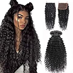 👍100% Unprocessed Brazilian Virgin Deep Wave Human Hair with 4*4 Free Part Lace Closure Natural and Bouncy. 💇All the Hair Cut From Young Girls Directly without any Chemical Processed,No Smell,Tangle Free,Shedding Free,Full Thick Ends,Soft and Smooth,...