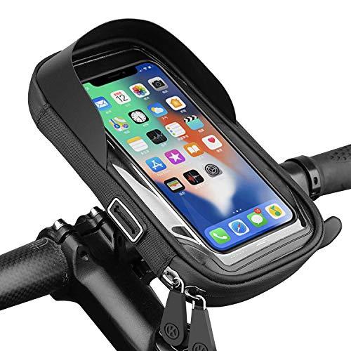 自転車フレームバッグ スマホホルダー 自転車ホルダー オートバイホルダー 自転車バッグ 大容量 軽量 振れ止め 脱落防止 携帯ホルダー 防水バック 6.4インチスマホ対応 360度回転 高感度タッチスクリーン イヤホン穴あり 梅雨対策 多機種対応 GPSナ